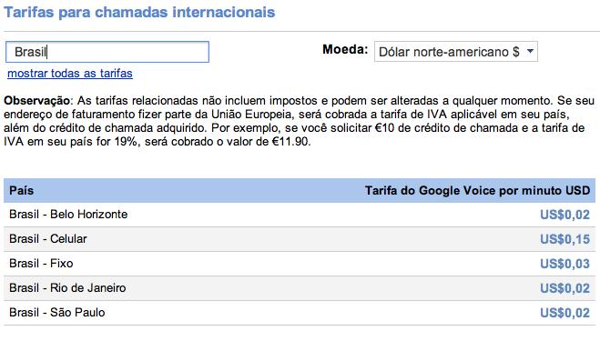 Tarifas em dólar das chamadas via Google Voice no Brasil (Foto: Reprodução)