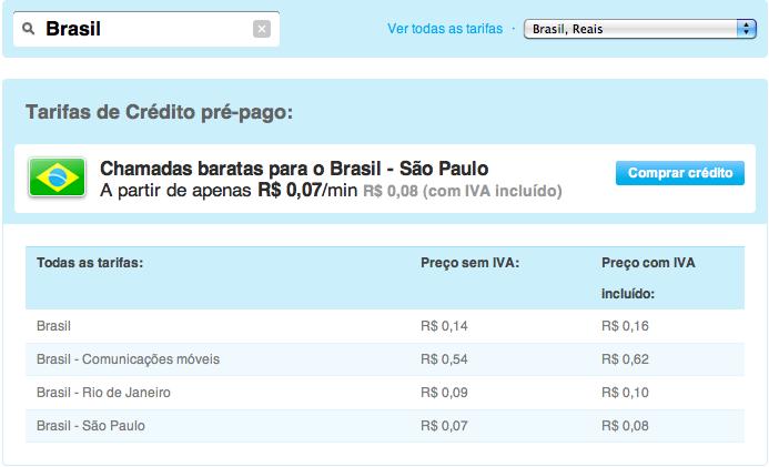 Tarifas do Skype no Brasil (Foto: Reprodução)