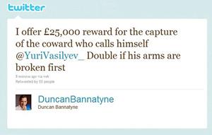 Post prometendo 25 mil libras de recompensa (Foto: Reprodução)