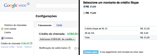 Telas de compra de créditos no Google Voice e no Skype (Foto: Reprodução/TechTudo)