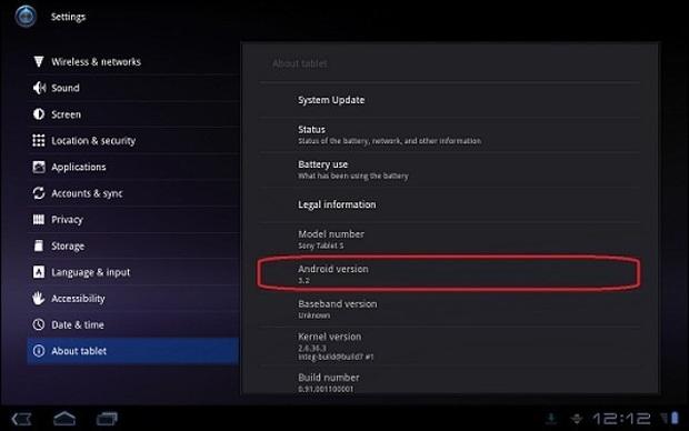 Tela do Sony S1 e S2 rodando Android 3.2 (Foto: Reprodução)
