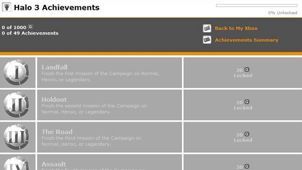 Lista de conquistas do game Halo 3 (Foto: Divulgação)