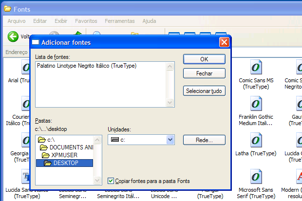 Instalando uma fonte no Windows XP (Foto: Reprodução)
