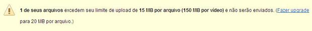 Mensagem de erro do Flickr por upload de dados acima do limite (Foto: Reprodução)
