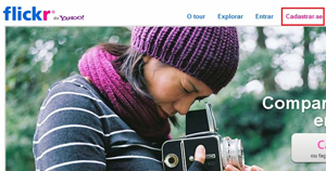 Homepage do Flickr: cadastre-se e compartilhe fotos e vídeos (Foto: Repredução)