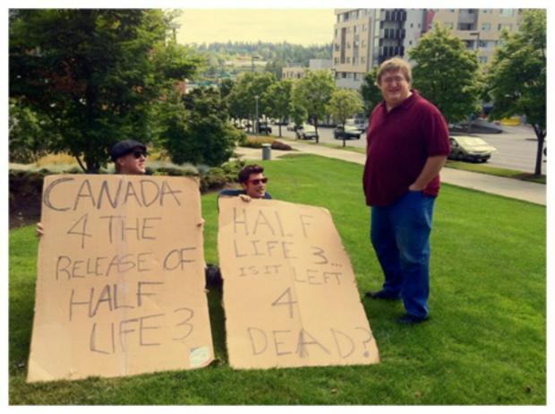 Manifestantes mostram indignação sobre atraso de Half-Life 3, na sede da Valve nos EUA (Foto: IGN)