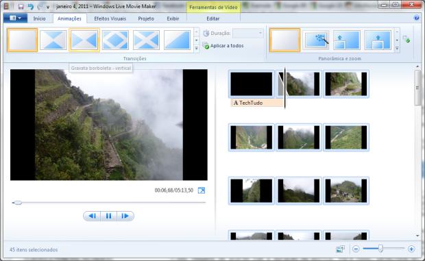 Escolhendo uma animação para a transição das imagens (Foto: Reprodução/Emerson Alecrim)