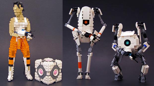 Protagonistas de Portal modelados em versão LEGO (Foto: Divulgação)