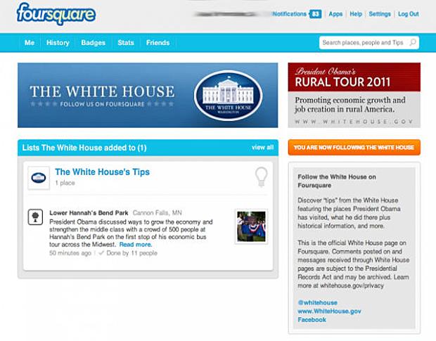 Barack Obama entra no Foursquare (Foto: Reprodução)