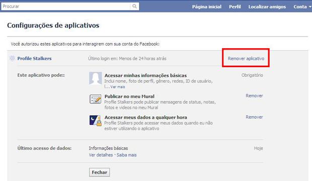 Remova o aplicativo Profile Stalkers do Facebook (Foto: Reprodução)