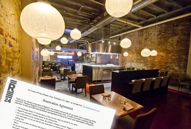 Contrato que deve ser assinado para fazer reservas no restaurante (Foto: Reprodução/R. Lopez)