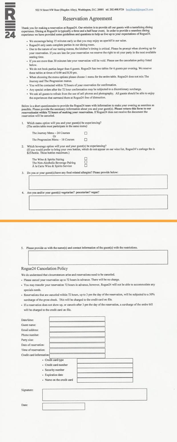 Contrato que deve ser assinado para fazer reservas no restaurante (Foto: Reprodução/Eater)