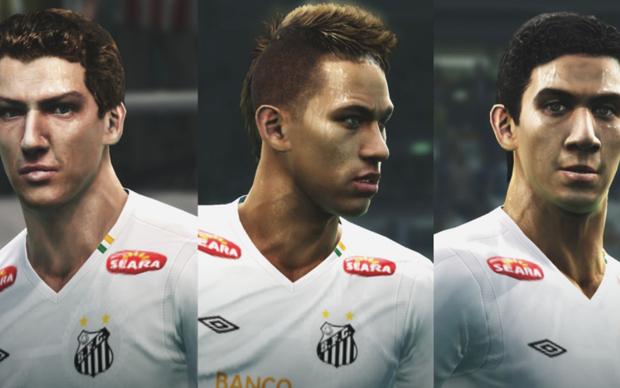 Elano, Neymar e Ganso na versão demonstrativa do PES 2012 (Foto: Divulgação)