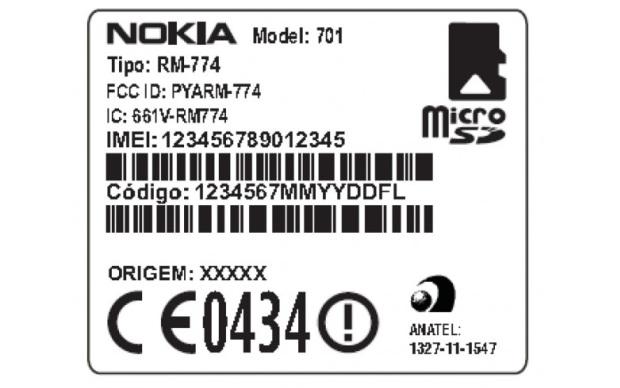 Rótulo interno do suposto Nokia 701 (Foto: MyNokiaBlog)