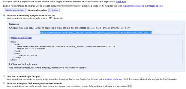 Adicionar metatag para verificação. (Foto: (Foto: Reprodução/Juliane Costa))