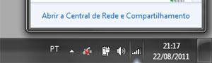 """Clique nas conexões e então acesse """"Central de Rede e Compartilhamento""""."""