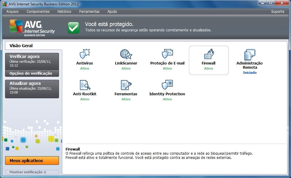 Interface do AVG Internet Security 2012 (Foto: Reprodução/Trama Comunicação)
