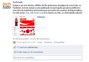 Notícia sobre o Facebook (Foto: Reprodução)