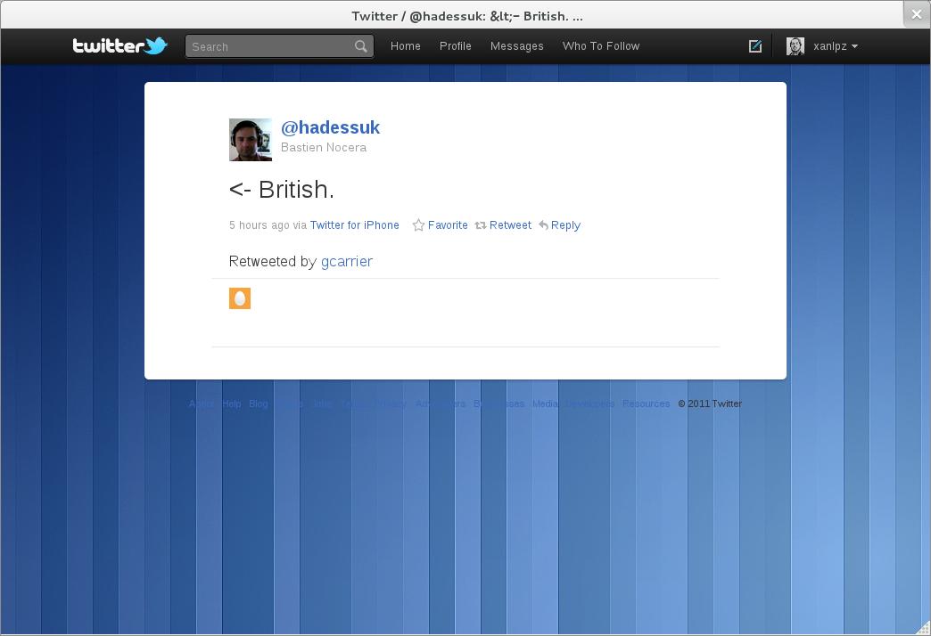 Interface do aplicativo - teste com o Twitter (Foto: Reprodução/GNOME.org)