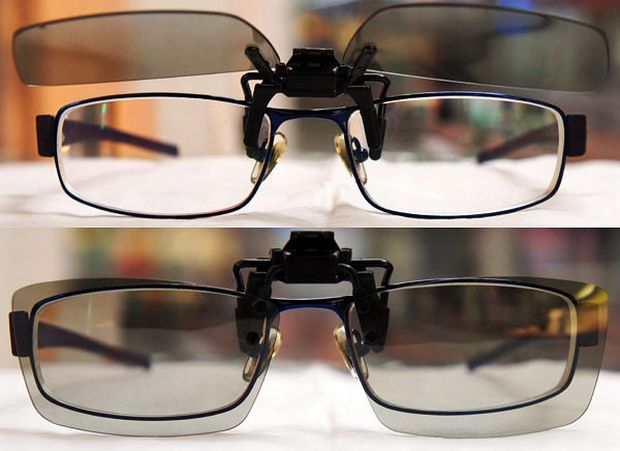 Acessório para imagem 3D em óculos de grau (Foto: Divulgação)