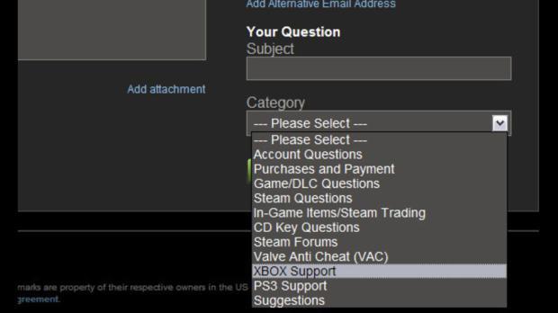 Página do suporte no Steam, com a opção de suporte ao Xbox (Foto: Divulgação)