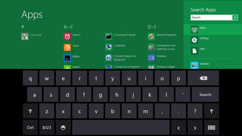 Teclado virtual, próprio para tablets, do Windows 8 (Foto: Divulgação)