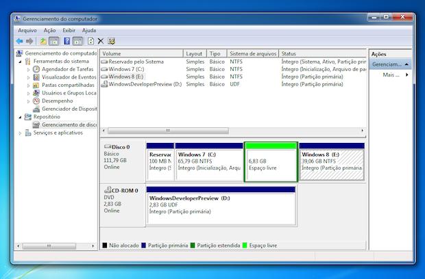 Gerenciador de discos no Windows 7 (Foto: Reprodução/TechTudo)