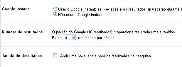 Desativando o Google Instant (Foto: Reprodução/TechTudo)