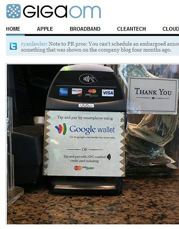 Primeiro registro do google wallet. (Foto: Divulgação)