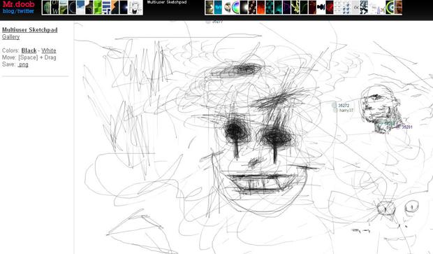 Site MrDoob: imagem Multiuser Sketchpad (Foto: Reprodução)