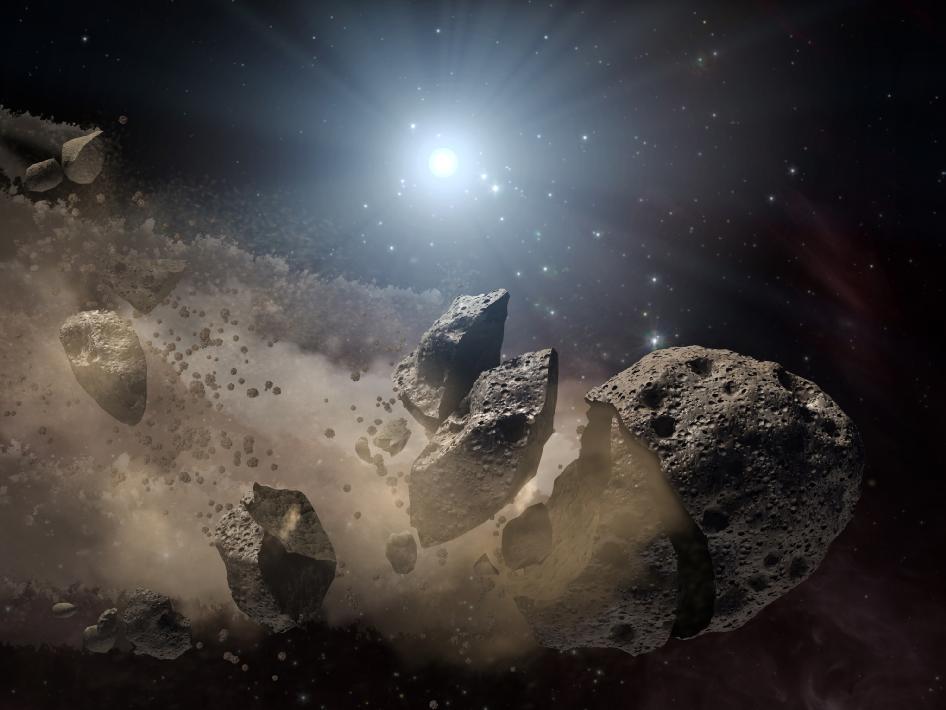 Ilustração mostra a fragmentação de um asteroide (Foto: Reprodução/NASA/JPL-Caltech)