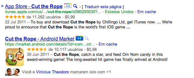 Exemplo de uma busca por Cut the Rope. (Foto: Reprodução)