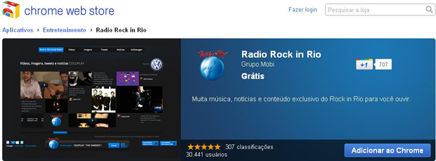 Radio Rock in Rio: extensão do Google Chrome (Foto: Reprodução)
