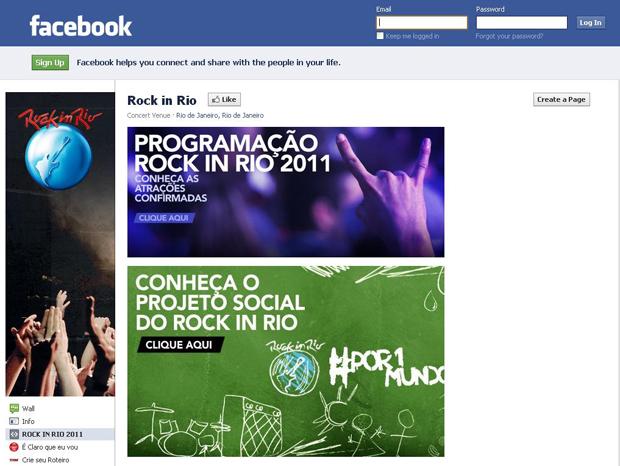 Rock in Rio 2011 no Facebook (Foto: Reprodução)