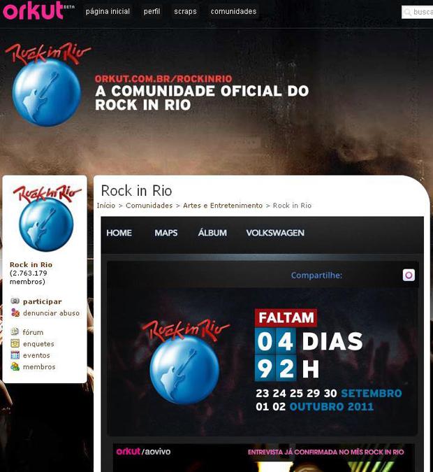 Rock in Rio 2011 no Orkut (Foto: Reprodução)