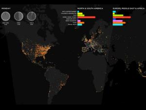 Gráfico ilustrando dos locais e horários dos check-ins do Foursquare (Foto: Divulgação)