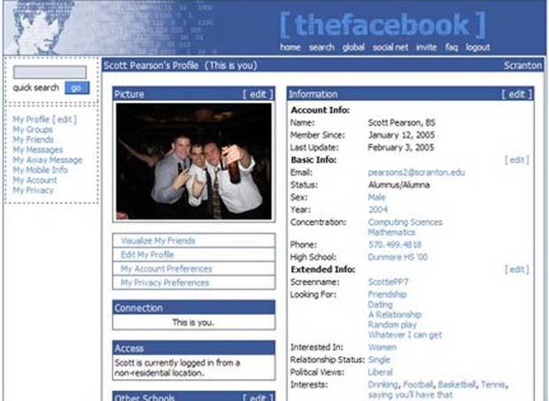 Perfil do Facebook em 2005. (Foto: Reprodução)
