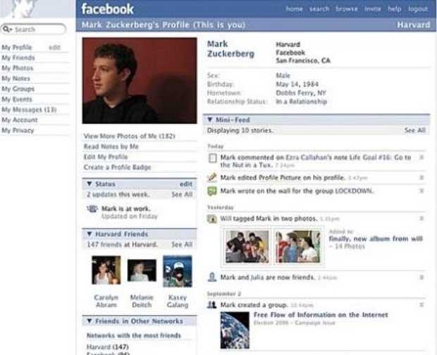 Perfil do Facebook em 2006. (Foto: Reprodução)