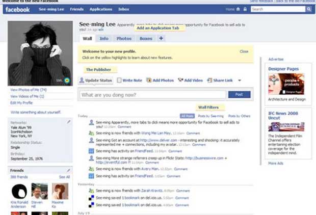 Perfil do Facebook em 2008. (Foto: Reprodução)