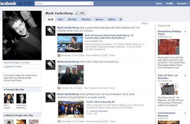 Perfil do Facebook em 2009. (Foto: Reprodução)