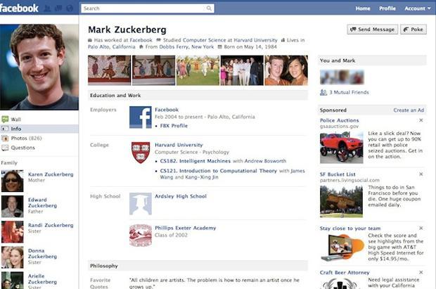 Perfil do Facebook em 2010. (Foto: Reprodução)