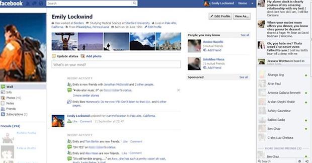 Perfil do Facebook em 2011. (Foto: Reprodução)