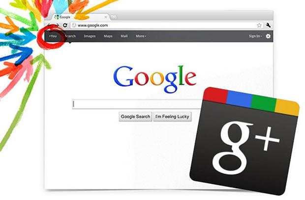 Página inicial do Google com a logo do Google+. (Foto: Divulgação)