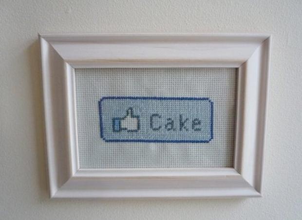 """Quadro em crochê """"Eu &squot;curto&squot; bolo"""" (Foto: Reprodução)"""