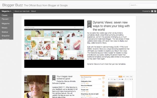 Modo de visualização Magazine do Dynamic Views no Blogger. (Foto: Reprodução)
