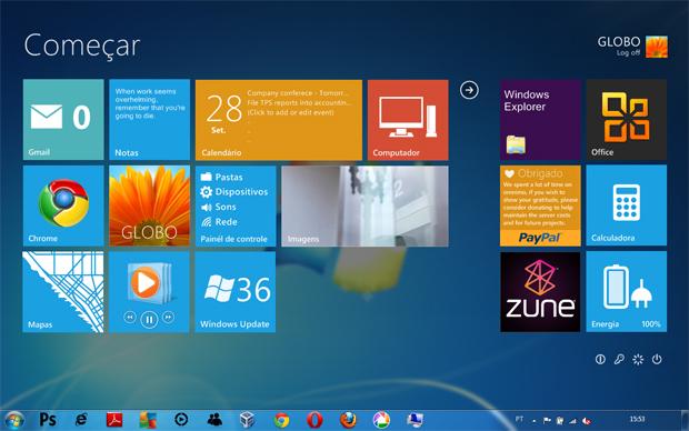 Windows 8 com o Omnimo (Foto: Reprodução)