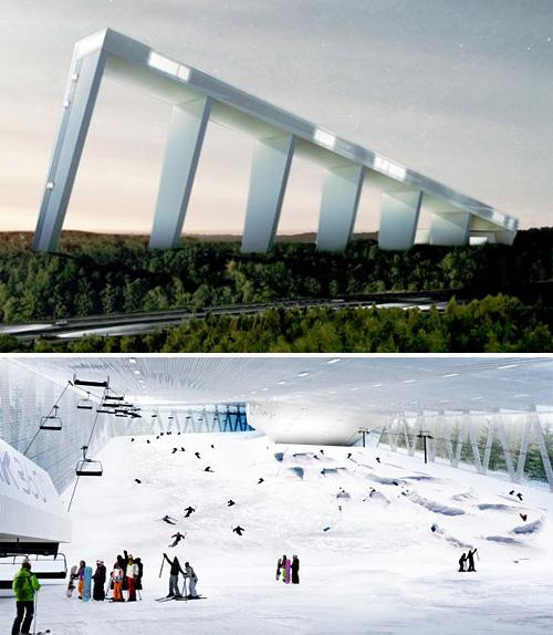 Declive e área interna do Skipark 360. (Foto: Divulgação)