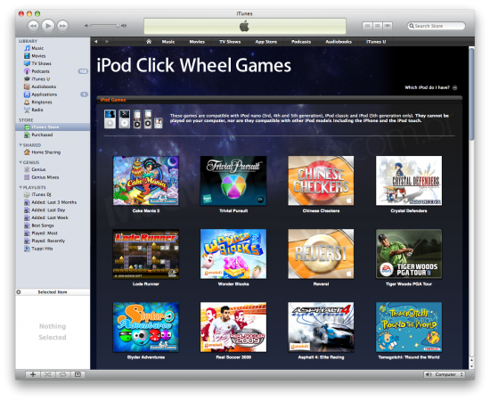 Página dos games para iPods com Click Wheel antes de ser removida. (Foto: Divulgação)