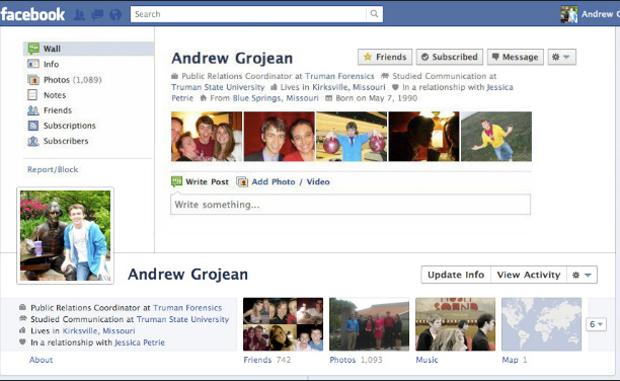 Timeline que simulao perfil antigo do Facebook. (Foto: Mashable)