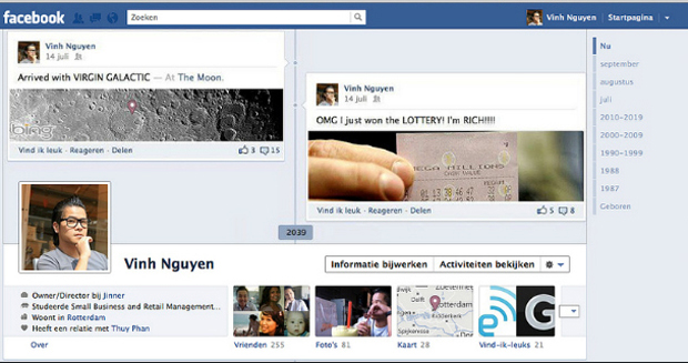 Timeline com posts de um suposto futuro. (Foto: Mashable)